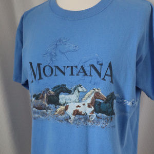 Montana Horse-Theme Short Sleeve Blue T-shirt Med.